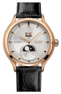 BOSS HUGO BOSS Automatic Leather Strap Watch, 45mm
