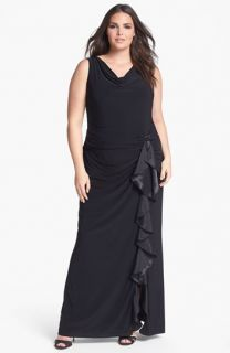 Betsy & Adam Ruffled Jersey Dress (Plus Size)