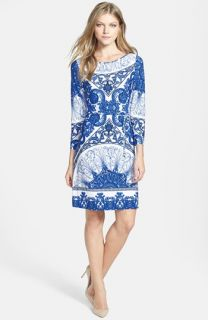 Ivanka Trump Print Stretch Jersey Dress