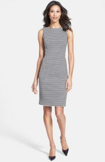 Isaac Mizrahi New York Stripe Sleeveless Ponte Knit Sheath Dress