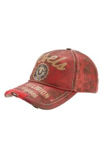 True Religion Brand Jeans Painted Leather Baseball Cap