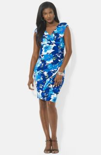 Lauren Ralph Lauren Print Gathered Empire Waist Stretch Jersey Dress