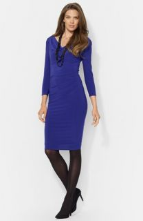 Lauren Ralph Lauren Cowl Neck Jersey Sheath Dress (Petite)