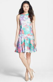 Isaac Mizrahi New York Print Drop Waist Shantung Dress