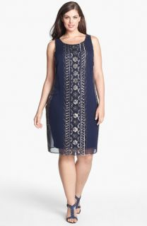 Adrianna Papell Embellished Overlay Tank Dress (Plus Size)