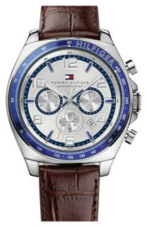 Tommy Hilfiger Chronograph Leather Strap Watch, 46mm