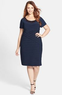 Adrianna Papell Embellished Neckline Shutter Pleat Stretch Jersey Sheath Dress (Plus Size)