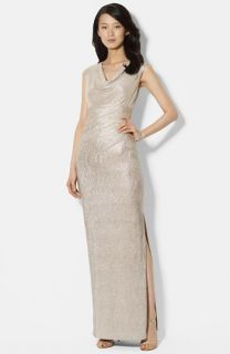 Lauren Ralph Lauren Metallic Knit Gown (Regular & Petite)