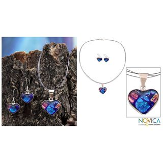 'Hearts In Love' Dichroic Art Glass Jewelry Set (Mexico) Novica Jewelry Sets