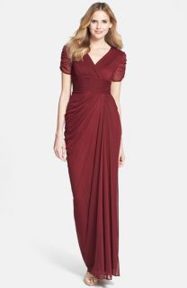 Adrianna Papell Draped Mesh Gown (Regular & Petite)