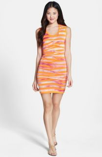 Nicole Miller Tidal Pleat Splash Dye Stripe Stretch Jersey Sheath Dress