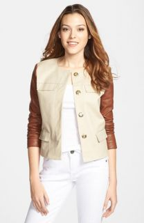 MICHAEL Michael Kors Cropped Jacket with Leather Sleeves