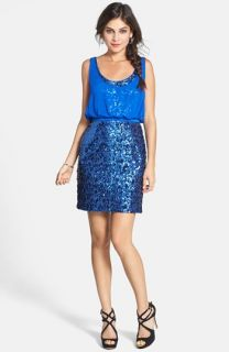 Aidan by Aidan Mattox Chiffon Overlay Sequin Sheath Dress