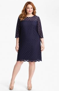 Adrianna Papell Polka Dot Lace Dress (Plus Size)
