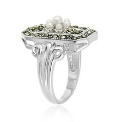 Glitzy Rocks Sterling Silver Marcasite and Faux Pearl Flower Ring Glitzy Rocks Gemstone Rings