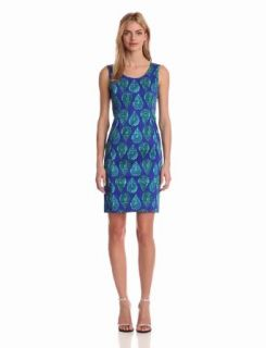 Jones New York Women's Sleeveless Shift Dress, Ultramarine Combo, 14