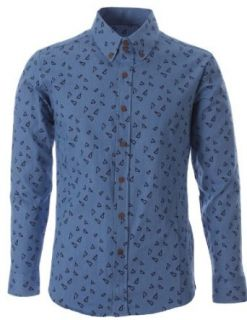 FLATSEVEN Mens Slim Fit Triangle Printed Cotton Denim Casual Shirts (SH186) Lightblue, XL Clothing