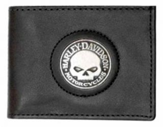 Harley Davidson Men's Black Leather Skull Medallion Bi fold Wallet. FB329H Clothing