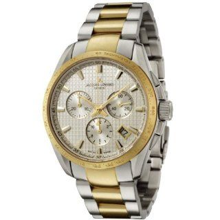 Jacques Lemans Men's GU191D Geneve Collection Tempora Chronograph Two Tone Stainless Steel Watch JACQUES LEMANS Watches