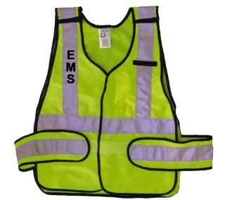 EMT EMS EMERGENCY MEDICAL TECHNICIAN SERVICES LIME GREEN REFLECTIVE TRAFFIC SAFETY VEST JACKET ANSI / ISEA 207 2006 COMPLIANT   Protective Work Jackets