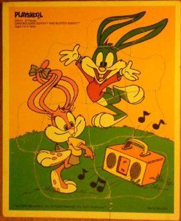 "Payskool ""Dancing Babs Bunny and Buster Bunny"" #205 01 10 Pc Wooden Jigsaw Puzzle"