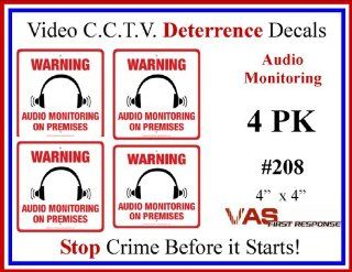 "4 Pack #208 Commercial Grade Audio Recording & Surveillance CCTV Video Security Warning Decal   Deterrence, Security, Safety 4""x4"""
