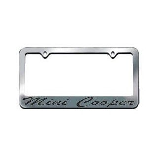 Mini Cooper Script Chrome License Plate Frame with 2 free caps Automotive