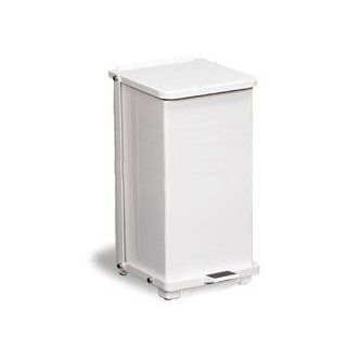 Continental White Metal Step On Trash Can   24 Gallon with Galvanized Liner