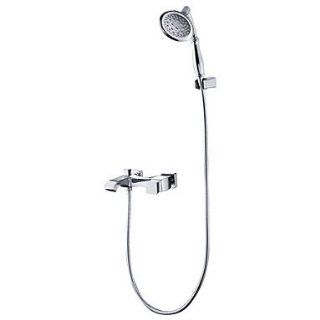 Contemporary Single Handle Wall Mount Shower Faucet Chrome Finish With Hand Shower   Hand Held Showerheads