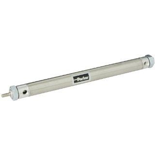 "Parker .88DXPSR08.0 Stainless Steel Air Cylinder, Round Body, Double Acting, Pivot & Nose Mount w/o Pivot Pin, Non cushioned, 7/8 inches Bore, 8 inches Stroke, 1/4 inches Rod OD, 1/8"" NPT Port Industrial Air Cylinders"