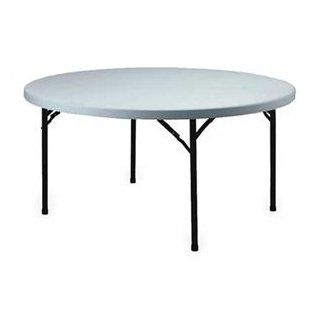 "Lightweight Plastic Folding Table 60"" Round Speckled White/Black Frame"