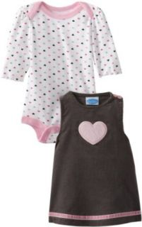 Bon Bebe Baby girls Newborn Hearts Corduroy 2 Piece Dress Set With Bodysuit, Multi, 0 3 Months Clothing