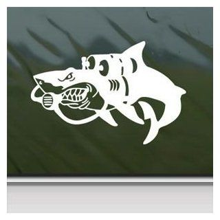 Shark Diving Beach Hunt White Sticker Decal Car Window Wall Macbook Notebook Laptop Sticker Decal   Decorative Wall Appliques