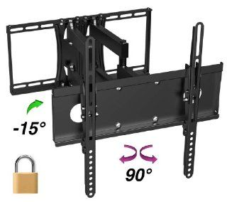 "InstallerParts Flat TV Mount 26"" ~ 47"" Tilt/Swivel BARL227D Black Lockable Type    For LCD LED Plasma TV Flat Panel Displays    This Locking Wall Mount Bracket is Perfect for Hotels or Outdoor Locations. Fits Toshiba, Samsung, LG, Vizio, Panasoni"