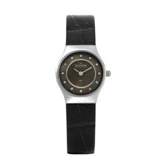 Skagen 233XSSL8ABB Women's Black Chrocodile Leather Dress  with Mother of Pearl Dial/Swarovski Crystals Watch Watches
