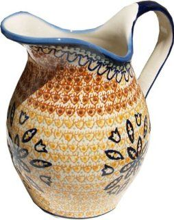 "Polish Pottery Pitcher 1.8 Qt. From Zaklady Ceramiczne Boleslawiec #1160 117 Art Unikat Signature Pattern, Height 7.9"" Capacity 1.8 Qt. Kitchen & Dining"