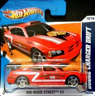 2011 Hot Wheels [Red Watkins Glen Fire Department] DODGE CHARGER DRIFT CAR #170/244, HW Main Street #10/10 (Short Card) Toys & Games