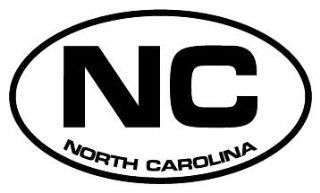 "2"" North Carolina NC euro oval style printed vinyl decal sticker for any smooth surface such as windows bumpers laptops or any smooth surface."