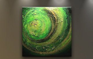 Oil Painting Abstract Modern Wall Decor Contemporary Art on Canvas Green Vortex   Paintings For Wall
