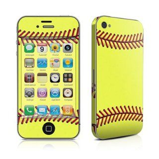Softball Design Protective Decal Skin Sticker (High Gloss Coating) for Apple iPhone 4 / 4S 16GB 32GB 64GB Cell Phones & Accessories