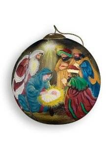 "Ne'Qwa ""Three Kings"" Hand Painted Mouth Blown Glass Ball Christmas Ornament #268   Handpainted Glass Christmas Ornaments"