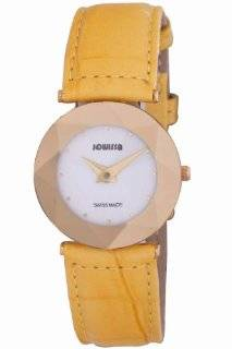 Jowissa Women's J5.266.M Facet Gold PVD Stainless Steel Yellow Genuine Leather Watch Watches