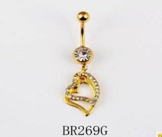3 X Wholesale Lot 316L Surgical Stainless Steel 14g Dangling HEART Piercing Crystal Rhinestone Gem Bar Navel Belly Ring Body Jewelry BR269G Jewelry