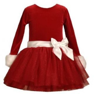 Bonnie Jean Baby/Infant Girls 12M 24M RED WHITE VELVET TIERED GLITTER MESH Special Occasion Christmas Holiday Party Santa Dress 24M BNJ 3768X X13768 Clothing