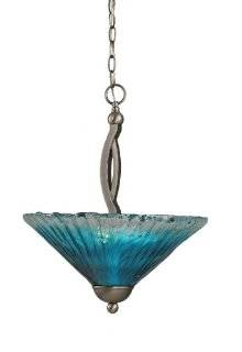 Toltec Lighting 274 BN 715 Bow Two Bulb Uplight Pendant Brushed Nickel with Teal Crystal Glass Shade, 16 Inch