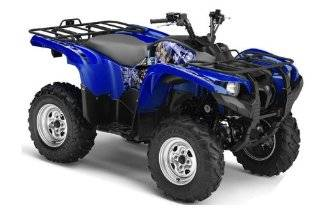 AMR Racing Yamaha Grizzly 700 ATV Quad Graphic Kit   Madhatter Blue, Silver Automotive