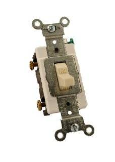 Leviton Cs120 2T 20 Amp, 120/277 Volt, Toggle Single Pole AC Quiet Switch, Commercial Grade, Grounding, Light Almond   Wall Light Switches