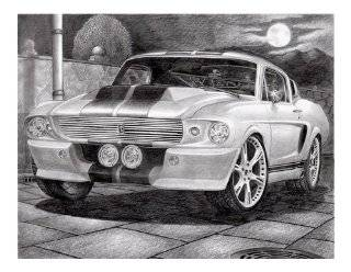 "Ford Mustang Shelby (Eleanor) Pencil Car Drawing 16"" x 14"""