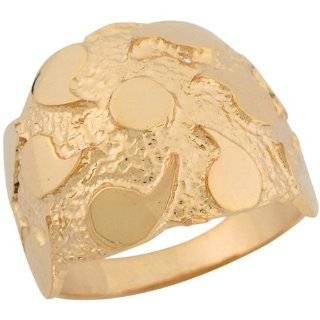 10k Solid Yellow Gold Rounded Beautiful Design Mens Nugget Ring Jewelry