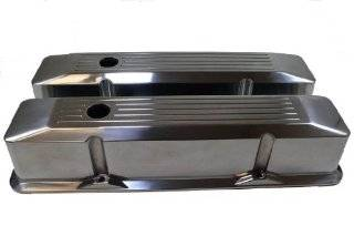 Racer Performance 1958 86 Chevy Small Block 283 305 327 350 Tall Polished Aluminum Recessed Valve Covers   Ball Milled Automotive